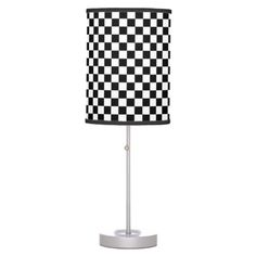 CHECKERBOARD  BLACK AND WHITE  LAMP   By TJ Copyright © TJ Ro All rights reserved