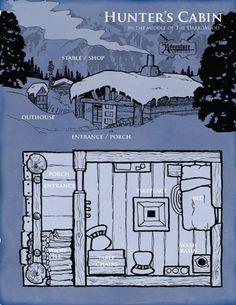 Map of Hunter's Cabin - shelter Fantasy Map, Medieval Fantasy, Fantasy World, Dungeons And Dragons, Hunters Cabin, Building Map, Rpg Map, Dungeon Maps, Fantasy Inspiration