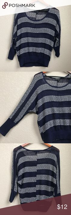 """Navy Blue & White Striped Lightweight Knit Top About A Girl Women's Navy Blue & White Striped Knit Top/Lightweight Sweater. Large  Total length: 24""""  Underarm to underarm: 22""""  [Inventory H] About A Girl Sweaters Crew & Scoop Necks"""