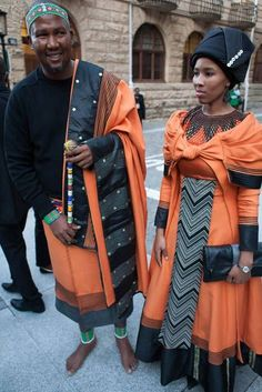 Mandla Mandela and Nodiyala. Xhosa Attire, African Attire, African Wear, African Fashion Dresses, African Women, African Dress, African Beauty, African Clothes, Ankara Fashion