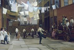 Alley Ball by John Payne. For more info please call us at 301-881-5977, or email us at info@huckleberryfineart.com. You can also visit our website www.huckleberryfineart.com. John Payne, Another World, Nostalgia, Street View, In This Moment, Nyc, Paintings, Image, Website