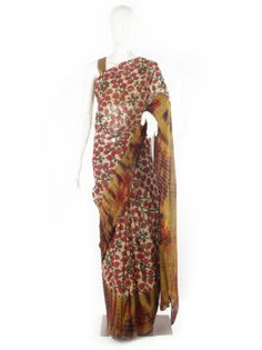 Tie and Dye Georgette Printed Kalamkari Saree is perfect saree for the season, it is light and vibrant and easy to drape. Shop for more such saree online @ RedPolka