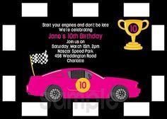 Girls Car Invitations Birthday Party Boy or Girl Printable