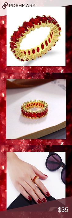 JUST IN Red Topaz 24k Yellow GF Eternity Band Material: 24K Gold Filled Size: 7, 8 Color: Red and Gold Stone: Topaz Style: Eternity Band  ⭐️⭐️SORRY NO TRADES AND LOWBALL OFFERS WILL BE IGNORED ⭐️⭐️  ✂️LOWBALL OFFERS WILL BE IGNORED✂️ Glam Squad 2 You Jewelry Rings
