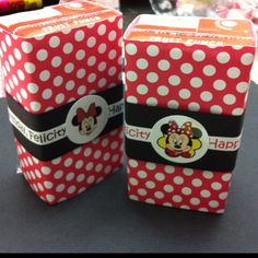 Juice boxes I decorated for my 3 yr old's upcoming Minnie Mouse themed birthday party!! She loves them!