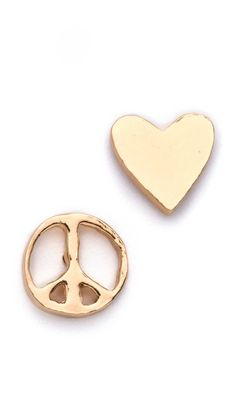 """Gorjana Peace & Heart Studs - These 18k gold-plated post earrings feature heart and peace sign details. 3/8"""" (1 cm) long - $31"""