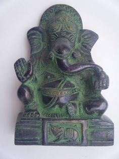 Antique Hindu God GANESHA Traditional Indian Statue Brass Elephant God Rare #850