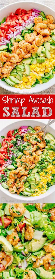 Shrimp Avocado Salad Recipe via Natasha's Kitchen - We could live off this shrimp avocado salad. It's crazy good and loaded with avocado, cucumbers, tomatoes, sweet corn and tossed with a light and easy cilantro-lemon dressing. This shrimp salad has all the best flavors of summer! WINNER!!