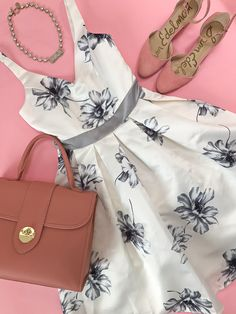 pebbled top handle satchel, scalloped pumps, floral dress, wedding outfit idea, summer outfit, bow necklace - click the photo for outfit details!