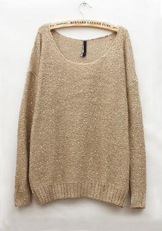 Beige Plain Round Neck Wool Blend Sweater