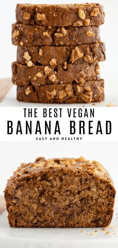 The BEST vegan banana bread recipe! It's healthy easy moist and so fluffy. This banana bread requires one bowl and simple ingredients. Made with overripe bananas flour brown sugar and coconut oil. No egg needed! Best Vegan Banana Bread Recipe, Banana Bread Coconut Oil, Banana Bread No Eggs, Banana Flour, Healthy Bread Recipes, Healthy Vegan Desserts, Easy Banana Bread, Vegan Dessert Recipes, Banana Bread Recipes