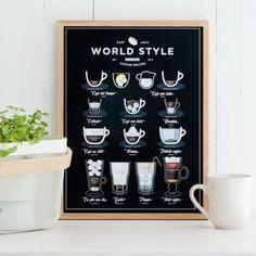 Plakát World Style Coffee 30x40 cm | Bonami