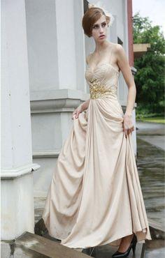 Satin Spaghetti Straps Neckline Pleated Bodice A-line Prom Dress