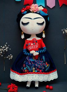 Frida Kahlo Primitive Folk Art Doll by HelensDolls on Etsy