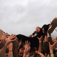 Frank Turner crowd surfing at Maine state pier.  Aug. 16 2016.