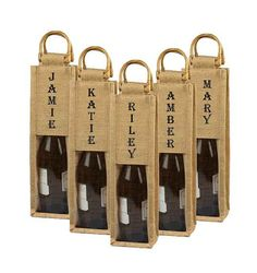 Personalized Burlap Wine Bag Custom Wine bag by BurlapCompany, #burlap #wedding party