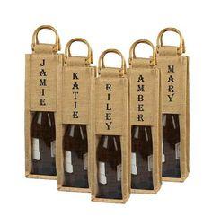 Personalized Burlap Wine Bag Custom Wine bag by BurlapCompany, #burlap #wedding party