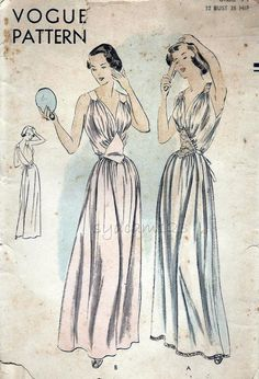 Vintage 1950s Floor Length Nightgown Pattern Low V by sydcam123, $45.00