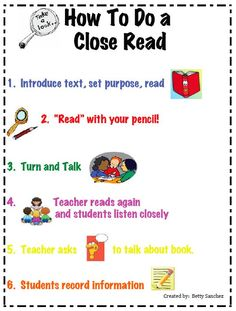 """FREE Close Reading Chart~ This anchor chart is a GREAT visual for your primary students. It assists in the development of the understanding of a """"closer"""" reading strategy which is a COMMON CORE staple. Check it out at Betty Sanchez's TpT store! Kindergarten Reading, Teaching Reading, Guided Reading, Teaching Tools, Cloze Reading, Teaching Ideas, Reading Activities, Reading Lessons, Reading Skills"""