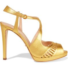 Sergio Rossi Cutout metallic leather sandals (22.165 RUB) ❤ liked on Polyvore featuring shoes, sandals, heels, gold, high heeled footwear, leather sandals, strappy sandals, metallic platform sandals and strap sandals
