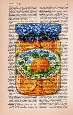 Orange Jam Mermelade Preserve french pot Print on Old by PRRINT