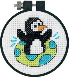 Dimensions Learn-A-Craft Playful Penguin Counted X-Stitch Kit-3''X3'', , hi-res