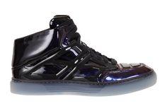 "Alejandro Ingelmo Black Patent Ombre Mid-Top ""Tron"" Sneakers"