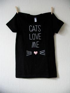 Cats Love Me Silkscreen T-shirt - Halloween Appropriate. $20,00, via Etsy.