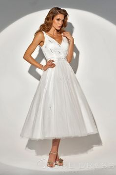 Precious A Line V Neck Tea Length Organza Wedding Dress   Storedress.com