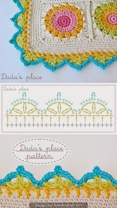 Need to learn this flowery-looking granny square technique, beautiful edging too! (Also need to learn how to read crochet chart patterns! Beau Crochet, Crochet Diy, Crochet Motifs, Manta Crochet, Crochet Borders, Crochet Diagram, Crochet Squares, Love Crochet, Crochet Crafts