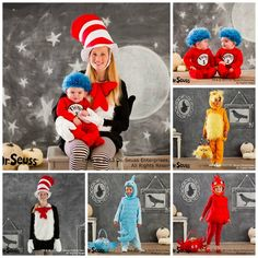 Dr Seuss family grouping by @Pottery Barn Kids. Family Halloween Costumes and Truffula Tree Treats. #familycostumes
