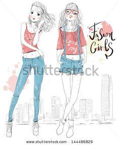fashion illustration girls - stock vector id 144486829