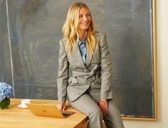 Gwyneth Paltrow con el traje gris que ha diseñado