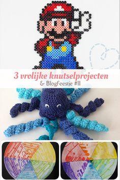 Drie vrolijke knutselproject; een Octopus haakpatroon, een kleurencirkel naammandala en leuke strijkkralen creaties. En natuurlijk blogfeestje #11.