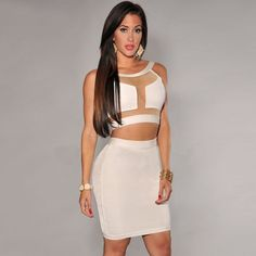 White gauze top with tight skirt S M L $85