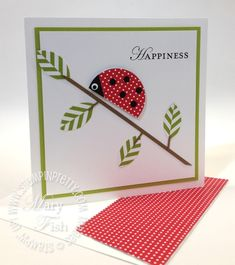 Punch art lady bug summer smooches designer series paper.  Designed by Mary Fish, Independent Stampin' Up! Demonstrator. Details, supply list and more card ideas on http://stampinpretty.com/2012/04/stampin-up-circle-punch-leaves.html