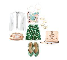 Style Guide:  Casual Date Night  #mint #patternblocking #whiteblazer #fashion