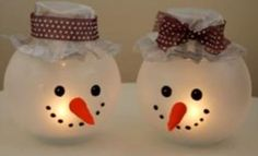 You Won't Believe What These Adorable Snowman Candle Holders Are Made With! -  http://www.gottalovediy.com/wp-content/uploads/sites/1137/2015/11/snowmanglobe18.jpg - These are super easy to make and these snowman candle holders look amazing when lit and will add christmas cheer to your home decor when displayed.  - http://www.gottalovediy.com/adorable-snowman-candle-holders/