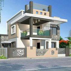 In this case, we wondered which are the most beautiful modern homes that are built. Modern Bungalow House Design, Modern Exterior House Designs, Best Modern House Design, Modern House Facades, Duplex House Design, House Design Photos, House Front Design, Modern House Plans, 3 Storey House Design