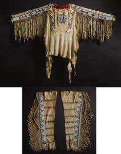 Blackfoot Beaded and Fringed Hide Shirt and Leggings | lot | Sotheby's