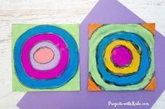 Easy Kandinsky Art for Kids with Chalk Pastels - Barbara - Chalk Art Chalk Pastel Art, Pastel Paper, Pastel Watercolor, Chalk Pastels, Chalk Art, Kandinsky Art, Circle Art, Cool Art Projects, Bunny Art