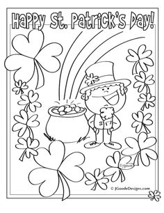 st patricks day leprechaun lucky clover and pot of gold coloring page printables for kids free word search puzzles coloring pages