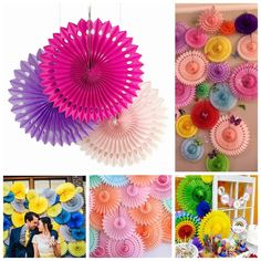 10/12/16'' Mix Paper Wheel Fan Flower Pinewheel Backdrop Wedding Party Decor #Unbranded