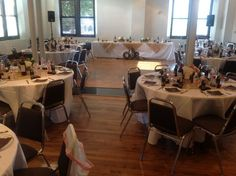Rehearsal dinner for 80 in Ruschhaupt Hall