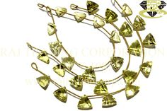 Lemon Quartz Concave Cut Trillion (Single Cut) (Quality AA+) Shape: Trillion Concave Cut Length: 18 cm Weight Approx: 11 to 13 Grms. Size Approx: 13 to 14 mm Price $36.00 Each Strand