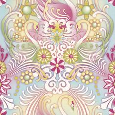 Cosne (1280010) - Paper Moon Wallpapers - Swans in a psychedelic detailed flower and curls design, in soft sugar sweet colours.  Paste the wall. Please request a sample for a true colour match. As this is a special order product, it may take 7-10 working days.