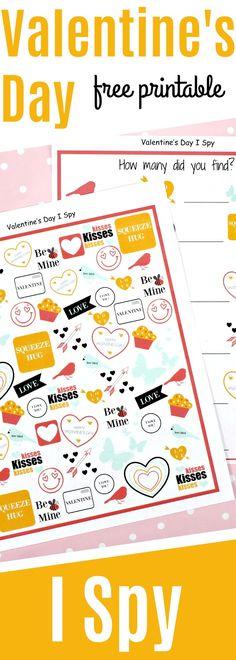 Valentine's Day I Spy Game {Free Printable For Kids}