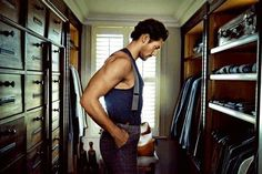 At Home with David Gandy-The London Evening Standard goes home with British model David Gandy to see his idea of a bachelor pad. Opening up his three-story… David Gandy, Dado Rail, Farrow And Ball Paint, Pumping Iron, The Fashionisto, Dolce E Gabbana, Walk In Wardrobe, Savile Row, House Stairs