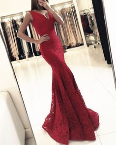 Red Lace V Neck Prom Dresses Long Mermaid Evening Dresses Elegant Formal Gowns Sexy Party Dress for Women Pageant Gowns Red Lace Prom Dress, Mermaid Prom Dresses Lace, Mermaid Evening Gown, Sexy Evening Dress, V Neck Prom Dresses, Cheap Evening Dresses, Evening Gowns, Lace Mermaid, Chiffon Dresses
