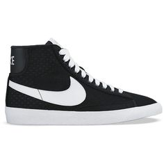 Nike Lace Up High Top Sneakers - Women's Blazer Mid Mesh ($90) ❤ liked on Polyvore featuring shoes, sneakers, black, lace up high top sneakers, nike high tops, nike trainers, black high-top sneakers and black shoes